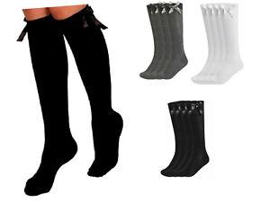 Girls Knee High Girls School Socks With Bow children kids All Size 1 Pair