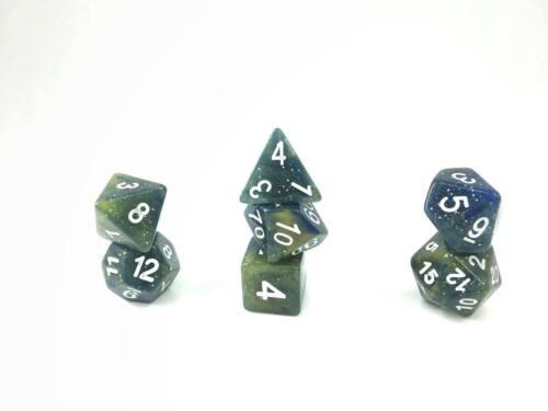 New Galaxy Nebula Blue and Yellow Glitter Poly Dice Set (7) New RPG DnD