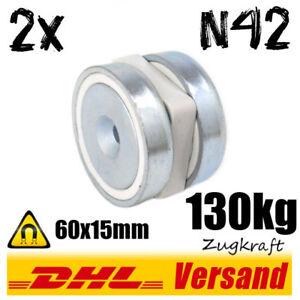 2x-Neodym-Topfmagnet-D60x15mm-130kg-N42-mit-Bohrung-magnetischer-Tuerhalter