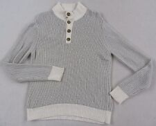 Express Men's Knit Wool Blend L/S Gray & White Striped Collared Sweater - XL