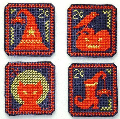 10/% Off Handblessings Counted X-stitch chart-Holiday Stamps-Halloween Two Cent
