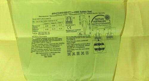 Porsche Tequipment Hi Visibility Safety Vest Genuine Porsche Item High Viz