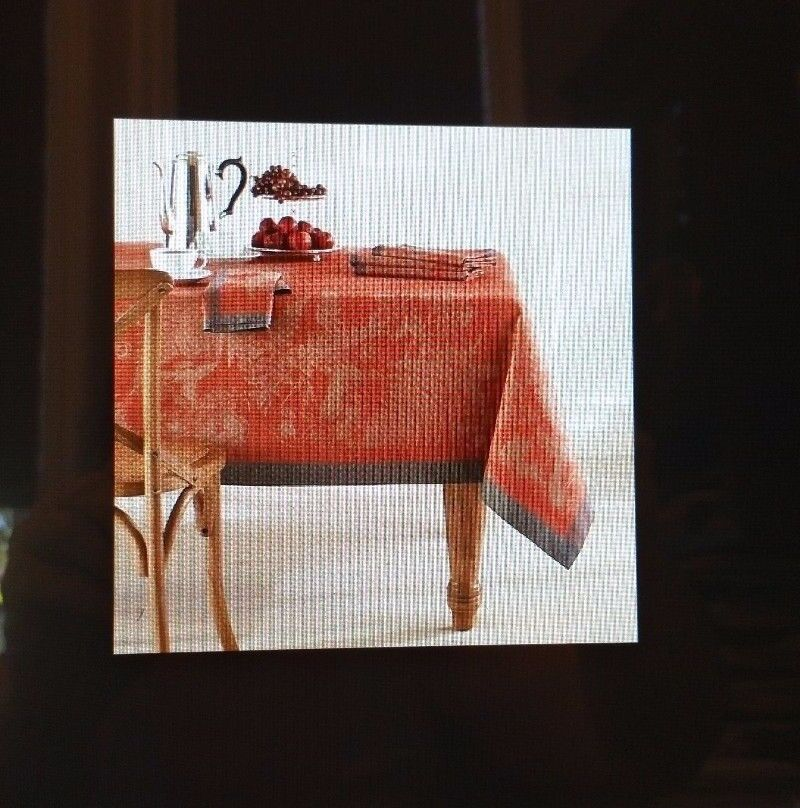 "WILLIAMS SONOMA  FALL FOREST JACQUARD TABLECLOTH in RUST  70"" X 90""  HARVEST"