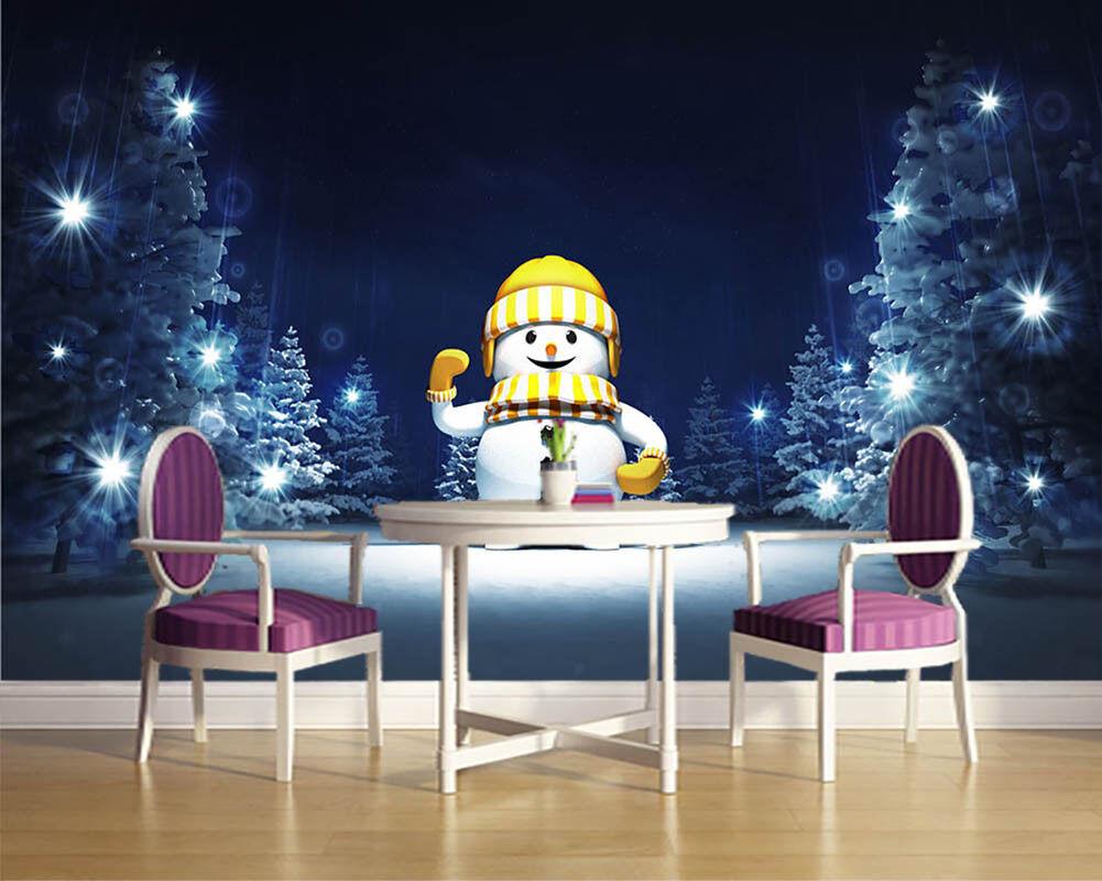 Full Of Cheer Snowman 3D Full Wall Mural Photo Wallpaper Print Home Kids Decor