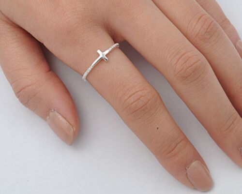 USA Seller Sideway Cross Ring Sterling Silver 925 Best Price Religious Jewelry