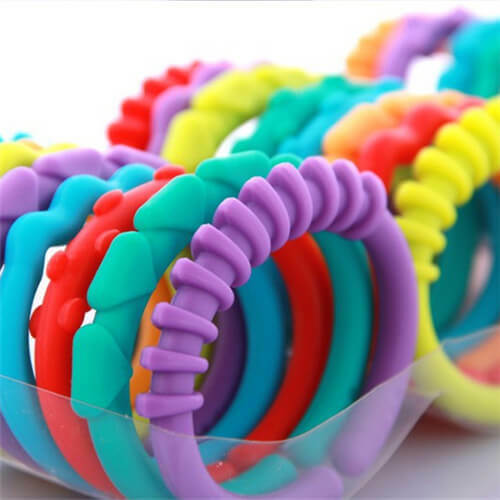 24pc Safe Plastic Teether Baby Stroller Gym Play Toys Rainbow  Ring Safety US