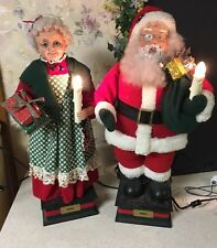 ANIMATED Lighted Motion SANTA MRS CLAUS HOLIDAY CREATIONS CHRISTMAS  25""