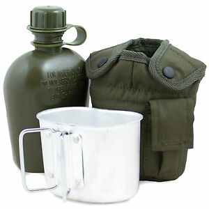 Army-Water-Bottle-Mug-amp-Pouch-Set-Canteen-Camping-Hiking-Military-Olive-Green