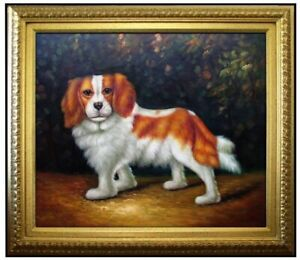 Framed-Quality-Hand-Painted-Oil-Painting-Cute-Golden-Hair-Puppy-20x24in