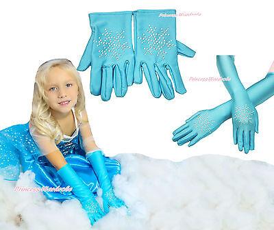 Rhinestone Snowflake Princess Elsa Blue Kid Girl Long Short Glove Baby Costume