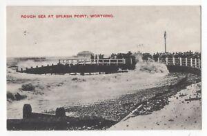 Rough-Sea-At-Splash-Point-Worthing-Sussex-1916-Postcard-982b