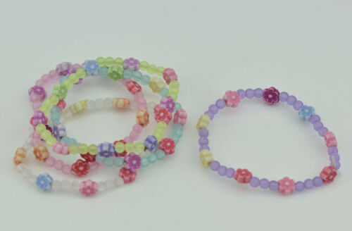 Childrens Daisy Frosted Beads Bracelets Pastel Colours Party Bag Fillers 5 x pkt