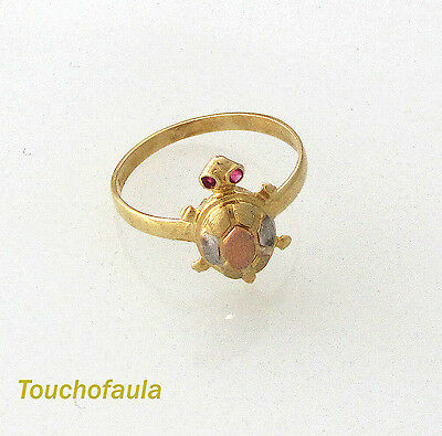 14K MULTI- TONE GOLD ADORABLE TURTLE RING 1.7 GRAMS  MADE IN ITALY SIZE 7.