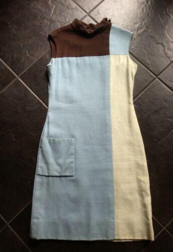 Vintage TEAL TRAINA Mondrian Square Linen Dress Sm