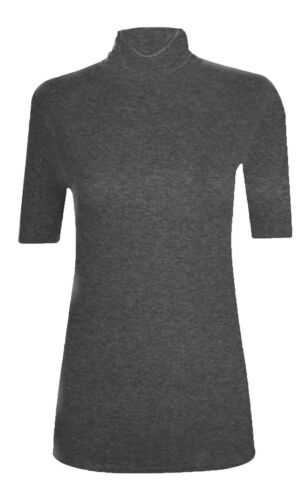 Women/'s Ladies Short Sleeve Polo Turtle Neck High Neck T-Shirt Plus Size 8-26