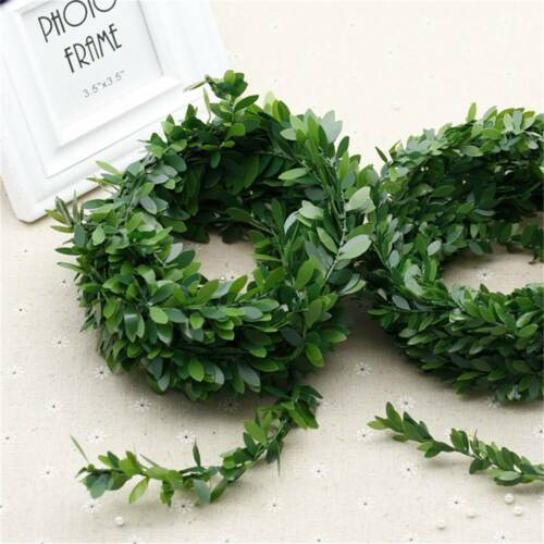 Silk Wreath Green Leaf Iron Wires  Flower Vine In Rattan For Party DIY Wedding