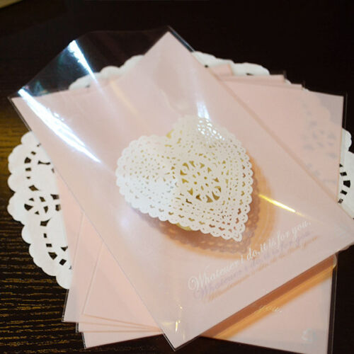 Pink Heart Lace Handmade Gift Wedding Party Favors Pops Cellophane Cello Bags