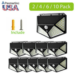 100-LED-Outdoor-Solar-Powered-Wall-Lamp-Motion-Sensor-Waterproof-Security-Light