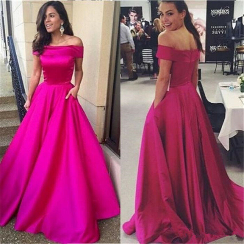 2018 Retro Off shoulder Prom Dress A Line Formal Evening gown Bridesmaid Dresses