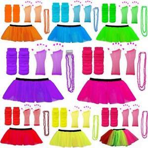 Neon-80s-Tutu-Set-Skirt-Leg-Warmers-Beads-Hen-Party-Fancy-Dress-Costumes-Dance