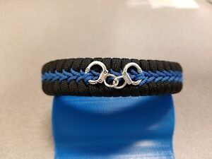 Image Is Loading Thin Blue Line Police Paracord Survival Bracelet With