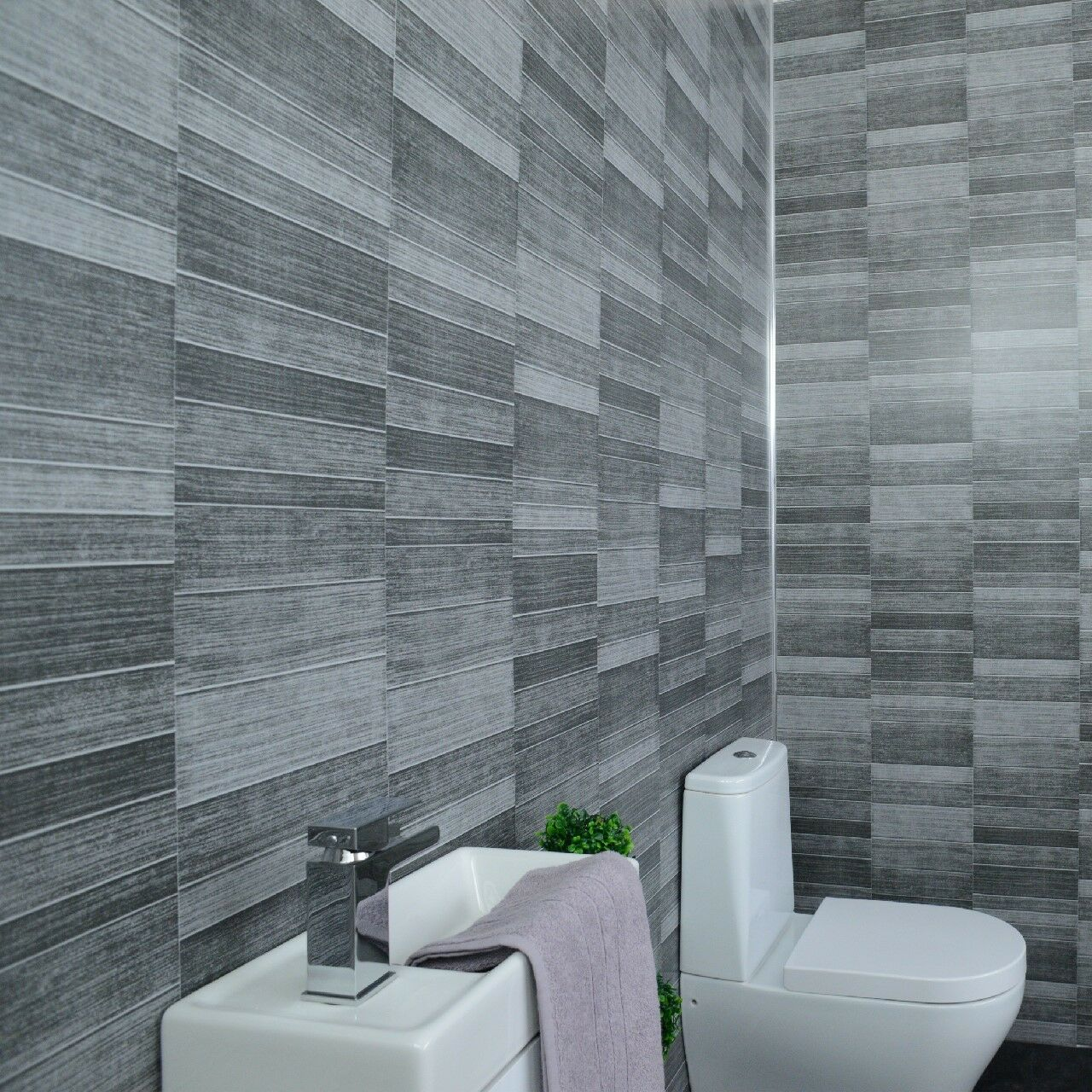 Grey Tile Effect Bathroom Panels Anthracite Tile Cladding