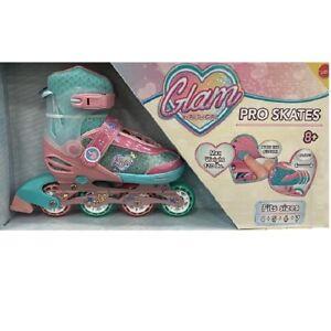 Girls Ladies Glam Pro Skates Adjustable Roller Blades Flying Wheel Rush Girl