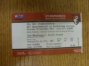 13-09-2014-Ticket-Bournemouth-v-Rotherham-United-Red-Ticket-Thanks-for-view