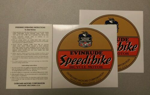 Evinrude Speedibike decal set two tank ends and instructions
