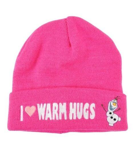 Disney Frozen Olaf I Love Warm Hugs Pink Beanie Cap Hat