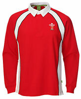 Official Wru Welsh Rugby Mens Long Sleeve Rugby Shirt Top Wales 6 Nations 2017