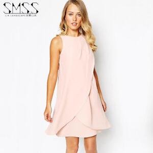 half off 85d38 8ce92 Dettagli su Elegante raffinato abito vestito donna scampanato corto rosa  cipria tg S