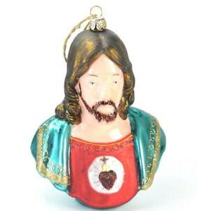 Sacred Heart Jesus Christ Glass Christmas Ornament NEW