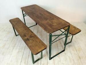Strange Details About Vintage Industrial German Beer Table Bench Set Garden Customised Length Evergreenethics Interior Chair Design Evergreenethicsorg