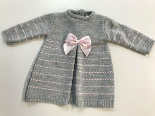 Baby Girl Spanish Soft Knit Grey A-Line Dress /& Pink Satin Bow