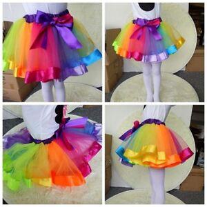 Fille-Enfant-Mini-Jupe-Tutu-Arc-en-ciel-Princesse-Jupon-N-ud-Ballet-Soiree-Danse