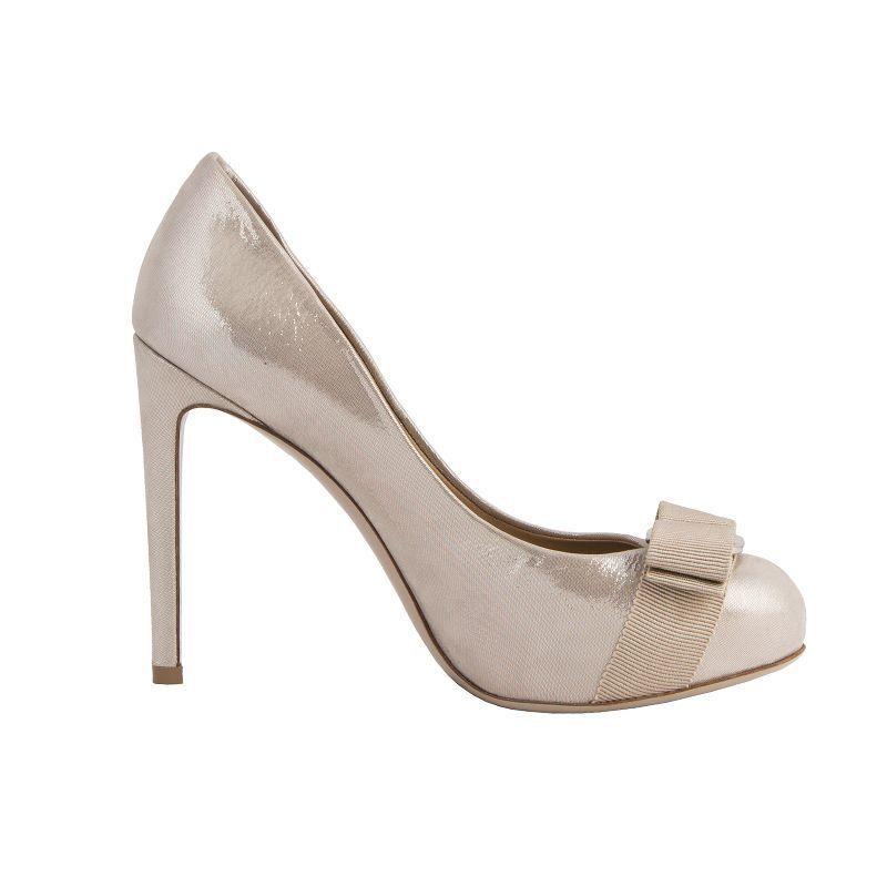 53632 auth SALVATORE FERRAGAMO champgane leather VARA Bow Pumps shoes 35