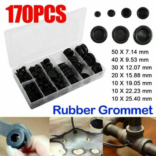 170x Blanking Grommets 7-25mm Rubber Gromet Closed Blind Panel Hole Plug Bung