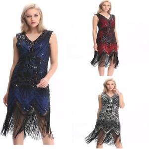 Gatsby-robe-Garconne-1920-S-Perles-Grande-Fete-Vintage-Sequin-Femme-S-franges