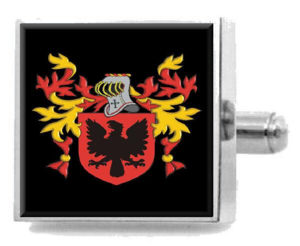 Getesbery England Heraldik Wappen Sterling Silber Manschettenknöpfe Graviert