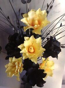 Artificial Silk Flower Arrangement Yellow /&  Black Flowers in Black Twist Vase.
