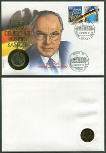 BRD-Numisbrief-Helmut-Kohl-1-Mark-Muenze-J-1990-Stempel-Bonn-02-12-1990
