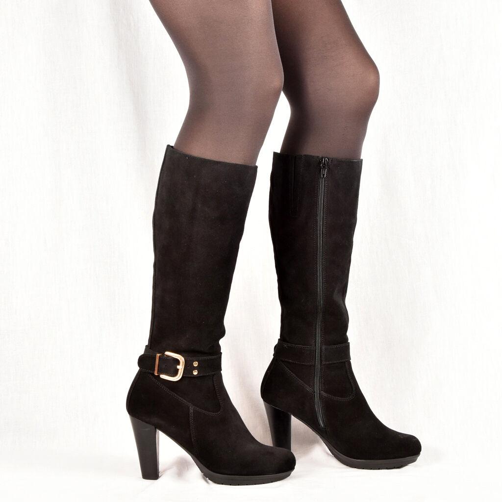 Señora botas botines botas de cuero negro nuevo Business 36 37 zapatos