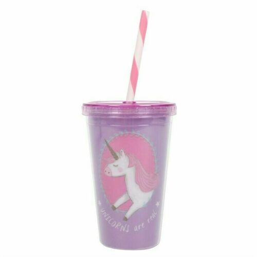 UNICORNS ARE REAL DESIGN, NOVELTY PLASTIC DRINKING CUP WITH LID AND STRAW