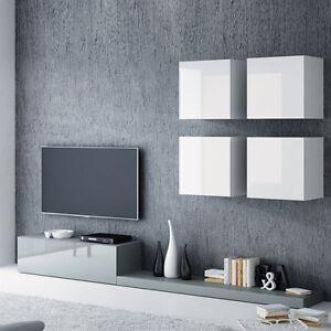 Details zu Wohnwand Jupiter II Wohnzimmer-Set Grau - Weiß Hochglanz  Schrankwand! Lowboard!