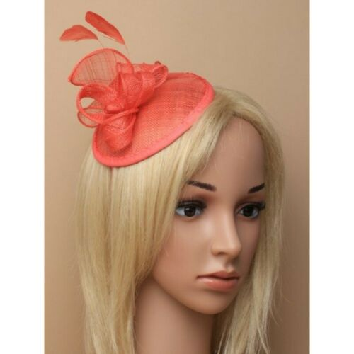 Coral Headband Aliceband Hat Fascinator Weddings Ladies Day Race Royal Ascot 23