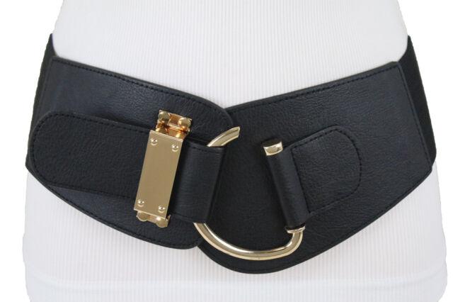 New Women Wide Orange Faux Leather Elastic Belt Hip High Waist Silver Buckle M L