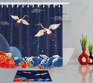 Japanese Crane With Wave Shower Curtain Liner 12 Hooks ...