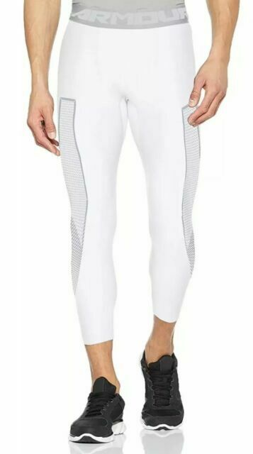 NWT Under Armour Men/'s 3//4 Compression Pant Tights White 1309925-100