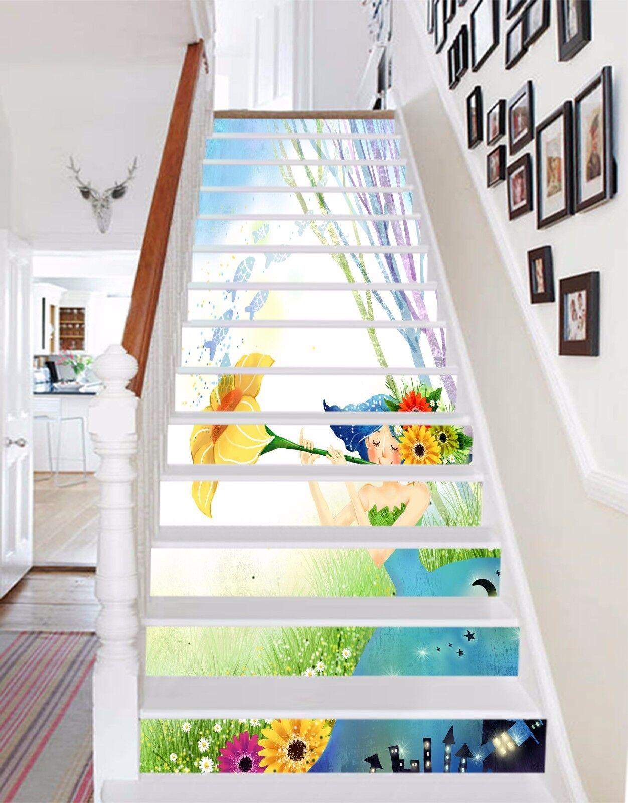 3D Cartoon girl 5  Stair Risers Decoration Photo Mural Vinyl Decal Wallpaper UK